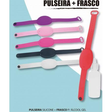 Pulseira porta gel mãos silicone + Dispensador com gel 30 ml