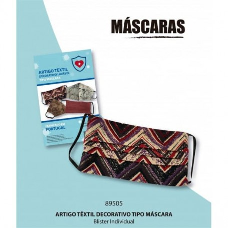 Conjunto de 4 Máscaras têxteis estampadas tecido lavável